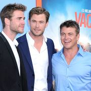westwood, ca   july 27  l r actorsbrothers liam hemsworth, chris hemsworth and luke hemsworth arrive at the premiere of warner bros vacation at regency village theatre on july 27, 2015 in westwood, california  photo by barry kinggetty images