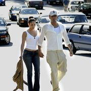 vancouver, bc   july 6  actors jennifer lopez and ben affleck walk together in deep cove july 6, 2003 in vancouver, canada  photo by lyle staffordgetty images