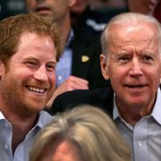 orlando, fl   may 11  prince harry and vice president of the united states of america joe biden watch usa vs denmark in the wheelchair rugby match at the invictus games orlando 2016 at espn wide world of sports on may 11, 2016 in orlando, florida prince harry, patron of the  invictus games foundation is in orlando for the invictus games 2016 the invictus games is the only international sporting event for wounded, injured and sick servicemen and women started in 2014 by prince harry the invictus games uses the power of sport to inspire recovery and support rehabilitation  photo by chris jacksongetty images for invictus games