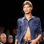 Fashion model, Denim, Fashion, Jeans, Fashion show, Runway, Clothing, Beauty, Fashion design, Textile,