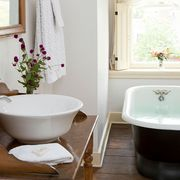 Bathroom, Room, Property, Bathtub, Plumbing fixture, Purple, Toilet seat, Toilet, Interior design, Floor,