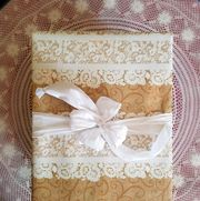 Brown, Beige, Textile, Wedding ceremony supply, Linens, Pattern, Rectangle, Needlework,