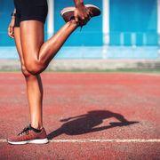 Leg, Human leg, Red, Joint, Thigh, Footwear, Athlete, Muscle, Human body, Knee,