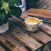 Drink, Food, Caffè macchiato, Coffee, Latte, Table, Wood, Cappuccino,