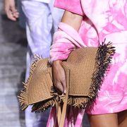 Pink, Street fashion, Clothing, Fashion, Handbag, Bag, Waist, Leather, Footwear, Leg,
