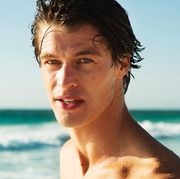 Barechested, Summer, Chin, Vacation, Surfer hair, Jaw, Human, Sea, Fun, Muscle,