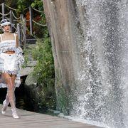 White, Water, Beauty, Dress, Fashion, Water feature, Street fashion, Leg, Tree, Photography,