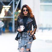Clothing, Street fashion, Fashion, Jeans, Shoulder, Fashion model, Denim, Footwear, Jacket, Outerwear,