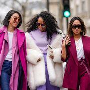 Pink, Street fashion, White, Fashion, Purple, People, Clothing, Magenta, Coat, Outerwear,