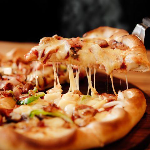 gooey cheesy pizza