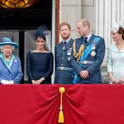 london, united kingdom   july 10 embargoed for publication in uk newspapers until 24 hours after create date and time prince charles, prince of wales, prince andrew, duke of york, camilla, duchess of cornwall, queen elizabeth ii, meghan, duchess of sussex, prince harry, duke of sussex, prince william, duke of cambridge and catherine, duchess of cambridge watch a flypast to mark the centenary of the royal air force from the balcony of buckingham palace on july 10, 2018 in london, england the 100th birthday of the raf, which was founded on on 1 april 1918, was marked with a centenary parade with the presentation of a new queens colour and flypast of 100 aircraft over buckingham palace photo by max mumbyindigogetty images