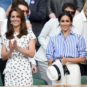 london, england   july 14  catherine, duchess of cambridge and meghan, duchess of sussex attend day twelve of the wimbledon tennis championships at the all england lawn tennis and croquet club on july 14, 2018 in london, england  photo by karwai tangwireimage