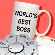 world's best boss mug, planner pad, mini vacuum, back massager