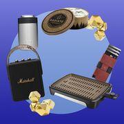 marshall speaker, yeti koozie, radiate campfire, ekster wallet, george foreman grill, gold whiskey stones