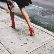 Sidewalk, Human leg, Leg, Asphalt, Public space, Road surface, High heels, Footwear, Road, Shoe,