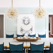 Room, White, Furniture, Dining room, Interior design, Chandelier, Property, Table, Living room, Turquoise,