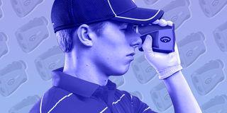 golfer using rangefinder