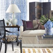 Living room, Furniture, Room, Interior design, Blue, Floor, Property, Curtain, Purple, Coffee table,