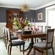 Room, Dining room, Furniture, Property, Interior design, Table, Building, Living room, Kitchen & dining room table, Home,