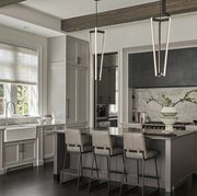 Furniture, Room, Interior design, Property, Cabinetry, Countertop, Building, Ceiling, Black-and-white, Kitchen,