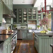 Countertop, Room, Kitchen, Cabinetry, Furniture, Interior design, Property, Ceiling, Building, Yellow,