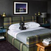 Bedroom, Bed, Furniture, Room, Bed frame, Mattress, Bed sheet, Interior design, Property, Suite,