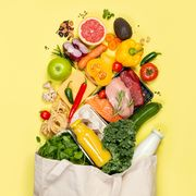 grocery shopping concept   foods with shopping bag