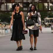 two women wear proenza schouler clothes at new york fashion week to advertise the launch of a new stitch fix service