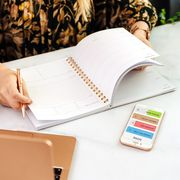 woman with planner and done habit tracking app on iphone
