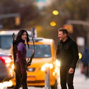 hailee steinfeld and jeremy renner on the set of hawkeye