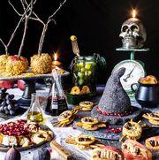 halloween snack buffet table