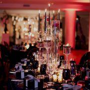 Pink, Lighting, Rehearsal dinner, Function hall, Restaurant, Centrepiece, Table, Glass, Barware, Event,