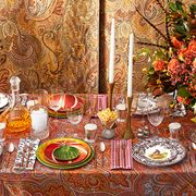 formal fall table setting with floral centerpiece