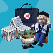 hanukkah blocks, lego yoda, fjallraven backpack, mensch on the bench