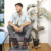 Houseplant, Plant, Design, Flower, Footwear, Leg, Sitting, Furniture, Room, Photography,
