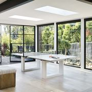windows with ping pong table