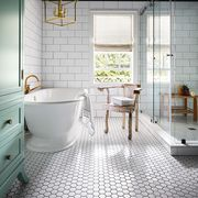 Bathroom, Room, Tile, Floor, Interior design, Property, Yellow, Ceiling, Flooring, Furniture,