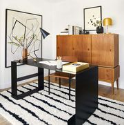 furniture, room, interior design, table, living room, desk, design, material property, chest of drawers, coffee table,
