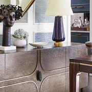 room, furniture, interior design, property, wall, purple, table, floor, yellow, lighting,