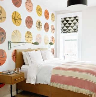 Bedroom, Furniture, Room, Interior design, Bed, Wall, Orange, Yellow, Bed frame, Bed sheet,