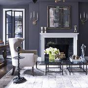 gray walls, fireplace