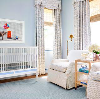 Room, Product, Furniture, Interior design, Bed, Blue, Infant bed, Property, Nursery, Bedroom,
