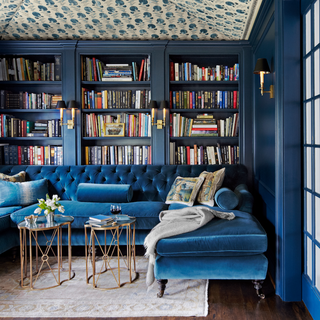 Blue, Living room, Room, Interior design, Furniture, Building, Ceiling, Wall, Shelf, Shelving,