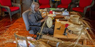 mary jackson crafts the lid to a basket using sweetgrass, pine needles and palmetto leaves in her studio along savannah highway monday may 3, 2021, on johns island, sc jackson learned basketmaking from her mother and grandmother while growing up in the african american community in mount pleasant, sc in time, she expanded beyond the traditional pieces she learned as a child and began crafting her own designs which can be seen in museums across the country