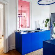 Blue, Room, Interior design, Property, Wall, Furniture, Building, Ceiling, Design, Floor,