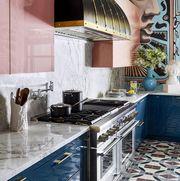 Countertop, Tile, Room, Kitchen, Floor, Blue, Property, Furniture, Interior design, Flooring,