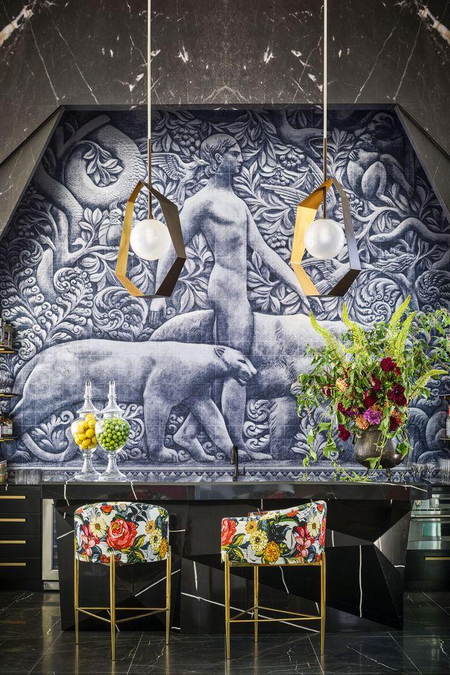 wall, architecture, interior design, mural, art, building, plant,