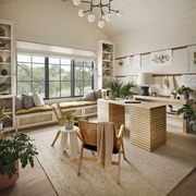 home office, wooden deck, wooden lounge chairs, window seat, white storage cabinets