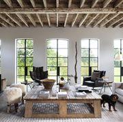 barn, wood ceiling, dog, white walls, beams