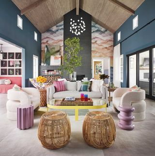 living room, fireplace, wallpaper, arched ceiling, ottomans, sofa and white lounge chairs, purple side tables, yellow and glass coffee table, blue teal walls